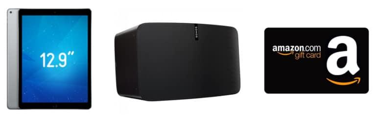 iPad Pro, un Sonos Play:5, chèque-cadeau Amazon d'une valeur de 100€