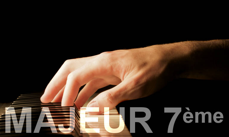 Main sur un piano. Accords de piano majeurs septième