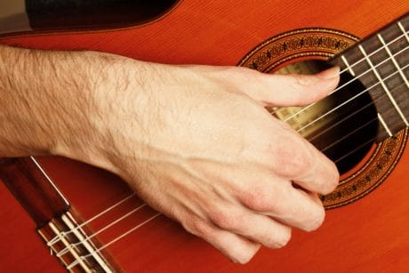 Guitare main droite position